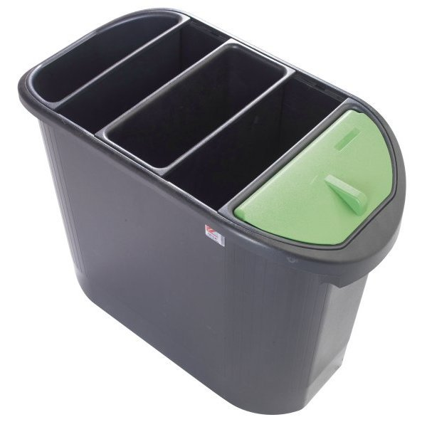Black PVC trash can