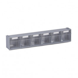 Six transparent tilting bins storage system
