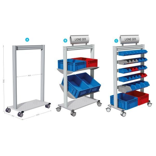 Mobile tray-holder trolley | LEANPOST 900