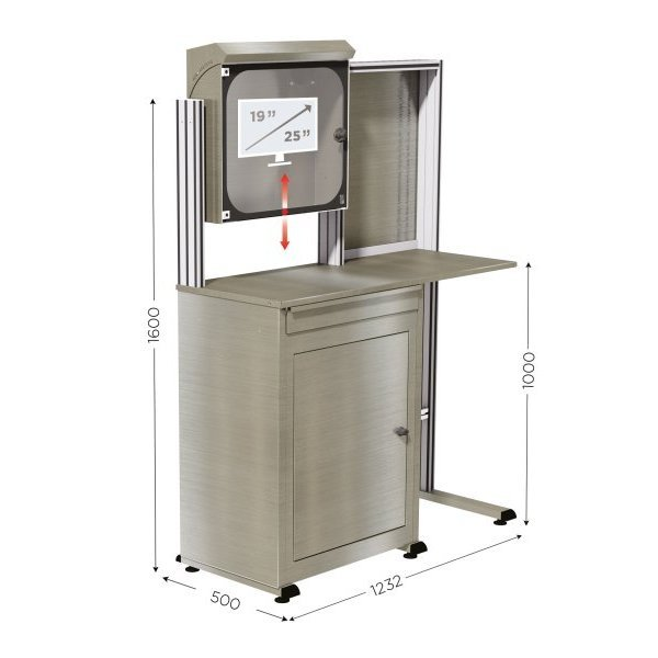 Stainless steel computer cabinet | MOBIPOST 550B INOX
